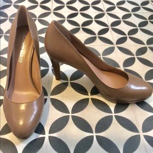 "Nude 3"" Heels Franco Sarto Tan Leather Pumps NWOT"
